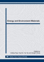 Cover image for Energy and environment materials : selected, peer reviewed papers from the Chinese Materials Congress 2012 (CMC 2012), July 13-18, 2012, Taiyuan, China