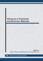 Cover image for Advances in functional and electronic materials : selected, peer reviewed papers from the Chinese Materials Conference 2012, July 13-18, 2012, Taiyuan, China