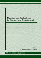 Cover image for Materials and applications for sensors and transducers : selected, peer reviewed papers from the MAST: 2nd Conference on Materials and Applications for Sensors and Transducers (IC-MAST), May 24-28, 2012, Budapest, Hungary