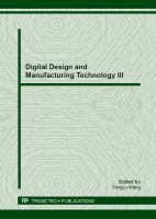 Cover image for Digital design and manufacturing technology III : selected, peer reviewed papers from the 2012 National Conference on Digital Design and ManufacturingTechnology (DDMTC 2012), November 12-14, 2012, Ningbo, China