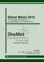 Cover image for Sheet metal 2013 : selected, peer reviewed papers from the 15th International Conference on Sheet Metal, March 25-27, 2013, Belfast, Northern Ireland