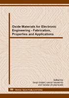 Cover image for Oxide materials for electronic engineering : fabrication, properties and applications : selected, peer reviewed papaers from the International Scientific Conference on Oxide Materials for Electronic Engineering - Fabrication, Properties and Applications (OMEE 2012), September 3-7, 2012, Lviv, Ukraine