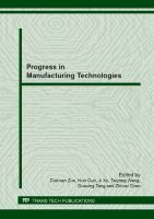 Cover image for Progress in manufacturing technologies : special topic volume with invited peer reviewed papers only