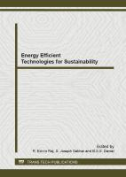 Cover image for Energy efficient technologies for sustainability : selected peer reviewed papers from the International Conference on Energy Efficient Technologies for Sustainability