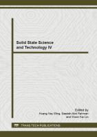 Cover image for Solid state science and technology IV : selected, peer reviewed papers from the 4th International Conference on Solid State Science and Technology, (ICSSST 2012), December 18-20, 2012, Melaka, Malaysia
