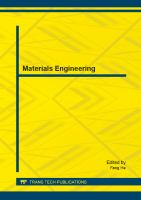 Cover image for Materials engineering : selected, Peer Reviewed Papers from the 2nd International Conference on Materials Engineering (ICMEN 2014), May 17-18, 2014, Nanjing, China
