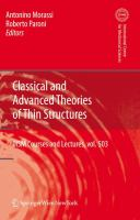 Cover image for Classical and advanced theories of thin structures : mechanical and mathematical aspects