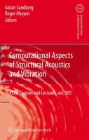 Cover image for Computational aspects of structural acoustics and vibration
