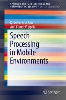 Cover image for Speech processing in mobile environments