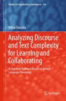 Cover image for Analyzing discourse and text complexity for learning and collaborating : a cognitive approach based on natural language processing