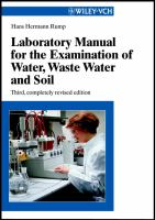 Cover image for Laboratory manual for the examination of water, waste water and soil / Hans Hermann Rump