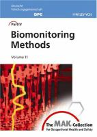 Cover image for Biomonitoring methods : the MAK collection for occupational health and safety