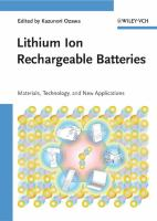 Cover image for Lithium ion rechargeable batteries