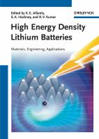 Cover image for High energy density lithium batteries : materials, engineering, applications