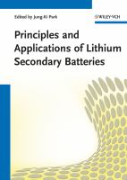 Cover image for Principles and applications of lithium secondary batteries