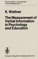 Cover image for The measurement of verbal information in psychology and education