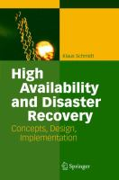 Cover image for High availability and disaster recovery : concepts, design, implementation