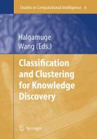 Cover image for Classification and clustering for knowledge discovery