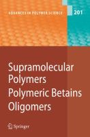 Cover image for Supramolecular polymers polymeric betains oligomers