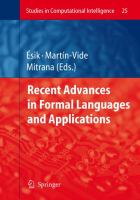 Cover image for Recent advances in formal languages and applications