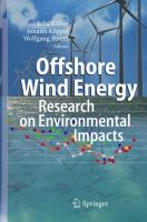 Cover image for Offshore wind energy : research on environmental impacts