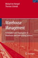 Cover image for Warehouse management automation and organisation of warehouse and order picking systems