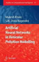 Cover image for Artificial neural networks in vehicular pollution modelling