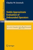 Cover image for Stable Approximate Evaluation of Unbounded Operators