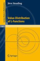 Cover image for Value-Distribution of L-Functions