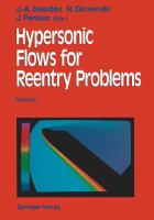 Cover image for Hypersonic flows for reentry problems: proceedings of a workshop, held in Antibes, France, 22-25 January 1990