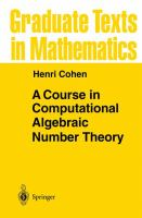 Cover image for A course in computational algebraic number theory