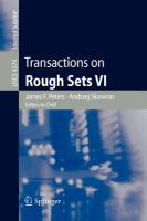 Cover image for Transactions on rough sets VI : commemorating the life and work of Zdislaw Pawlak