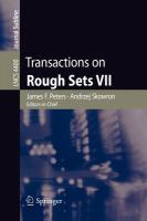Cover image for Transactions on rough sets VII : commemorating the life and work of Zdislaw Pawlak