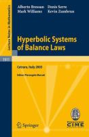 Cover image for Hyperbolic Systems of Balance Laws Lectures given at the C.I.M.E. Summer School held in Cetraro, Italy, July 14-21, 2003