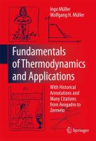 Cover image for Fundamentals of thermodynamics and applications : with historical annotations and many citations from avogadro to zermelo