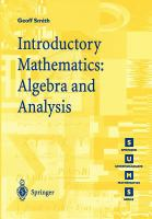 Cover image for Introductory mathematics : algebra and analysis