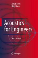 Cover image for Acoustics for engineers : troy lectures