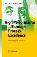 Cover image for High performance through process excellence : from strategy to operations