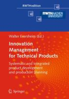 Cover image for Innovation management for technical products : systematic and integrated product development and production planning