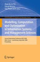 Cover image for Modelling, computation and optimization in information systems and management sciences : Second International Conference MCO 2008, Metz, France - Luxembourg,September 8-10, 2008 : proceedings