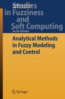 Cover image for Analytical methods in fuzzy modeling and control