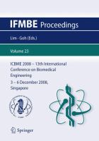 Cover image for 13th International Conference on Biomedical Engineering : ICBME 2008, 3-6 December 2008, Singapore