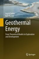 Cover image for Geothermal energy : from theoretical models to exploration and development