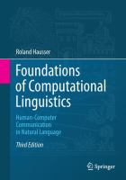 Cover image for Foundations of computational linguistics : human-computer communication in natural language