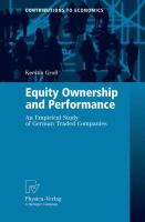 Cover image for Equity Ownership and Performance An Empirical Study of German Traded Companies