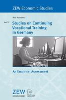 Cover image for Studies on Continuing Vocational Training in Germany An Empirical Assessment