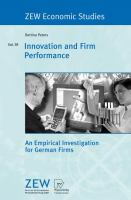 Cover image for Innovation and firm performance : an empirical investigation for German firms