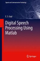 Cover image for Digital speech processing using Matlab