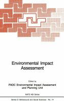 Cover image for Environmental impact assessment