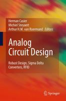 Cover image for Analog circuit design : robust design, sigma delta converters, RFID